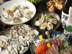 牡蠣と日本酒 四喜